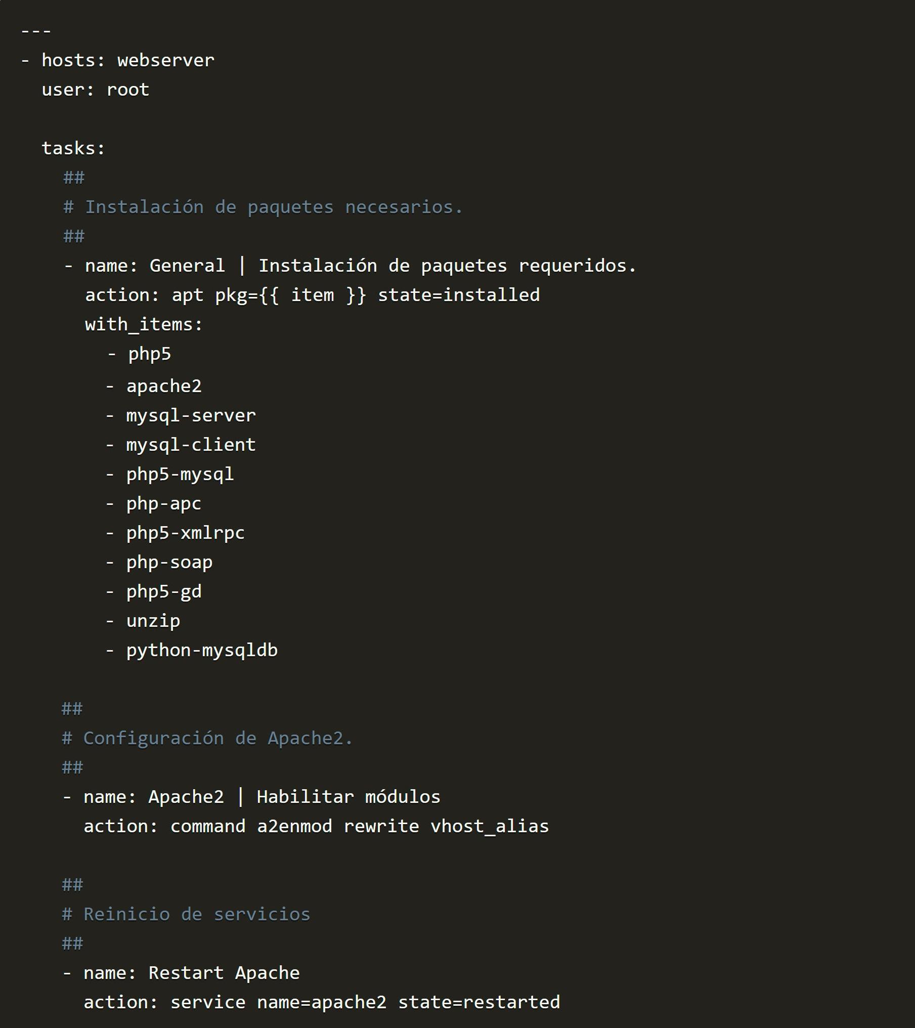 instalacion de paquetes php5 apache2 mysql server client