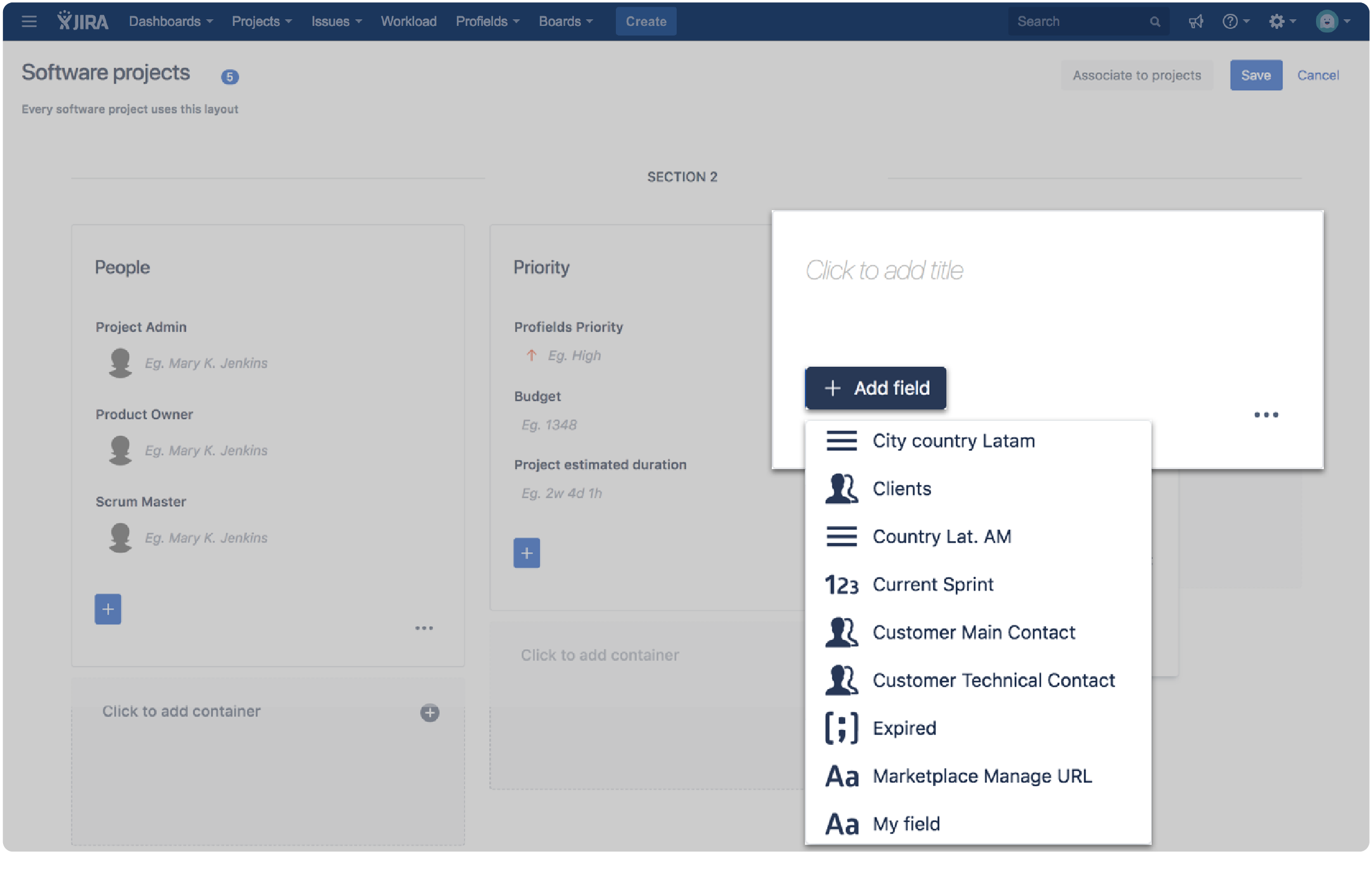 Jira Software prrojects custom fields