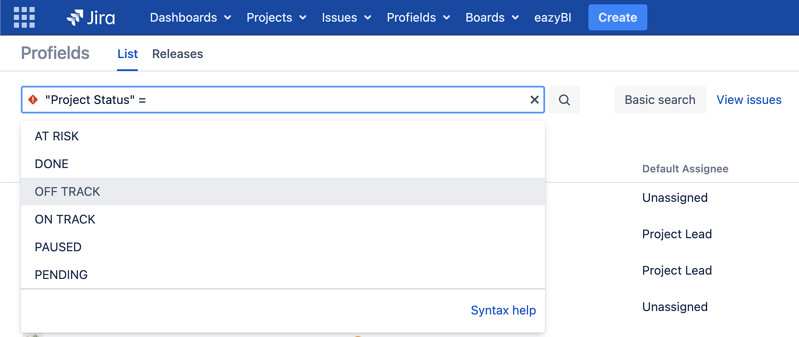 Search for Jira projects by attributes instead category or typology
