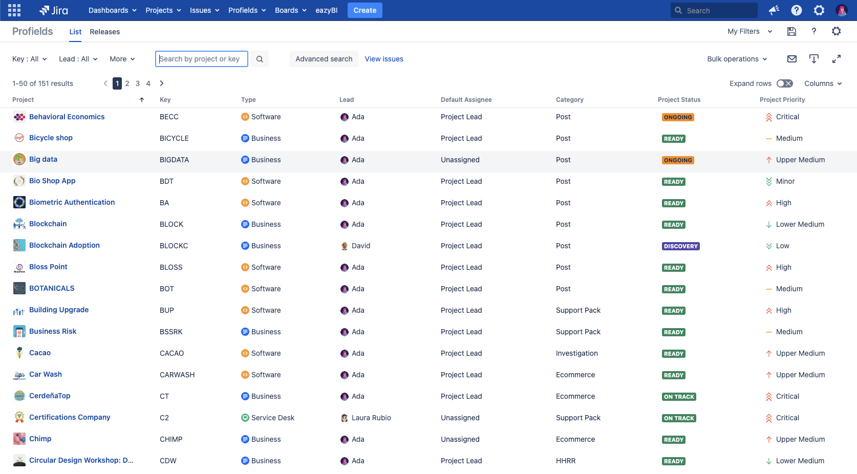 How to get Jira advanced searches for projects?