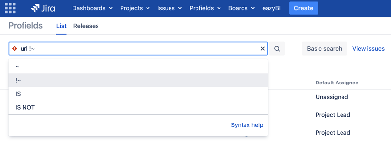 Learn how to search for projects in Jira with a missing text