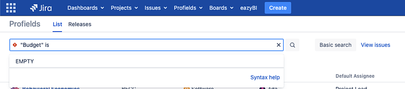 How to search for projects in Jira with empty properties?