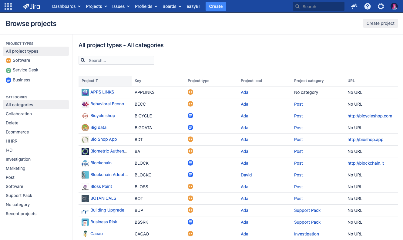 How to search for projects in Jira?