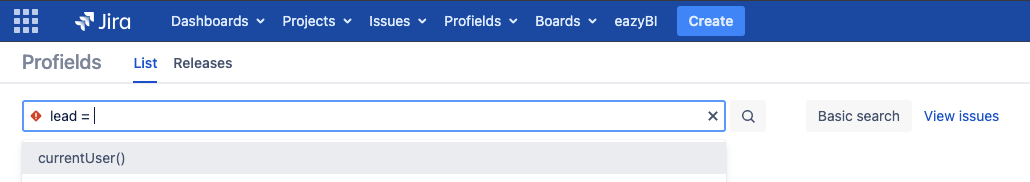 How to search the projects by leader in Jira?