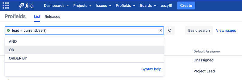 Learn how to search for projects in Jira that meets one criteria OR another one