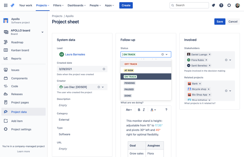 How to update and standarize Jira projects information with Projectrak cloud