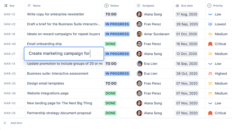 Jira Cloud issues list view allows a visualization of all of your tasks