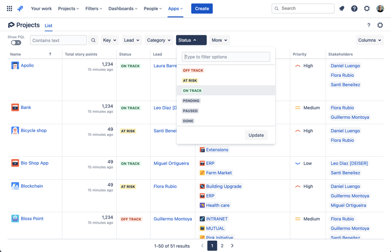 Project list view from Projectrak s for Jira Cloud to visualize and centralize all of your Jira projects in one place