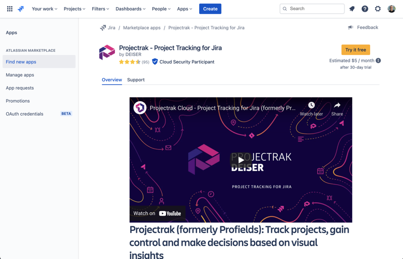 how to download and install Projectrack for Jira Cloud Project Tracking