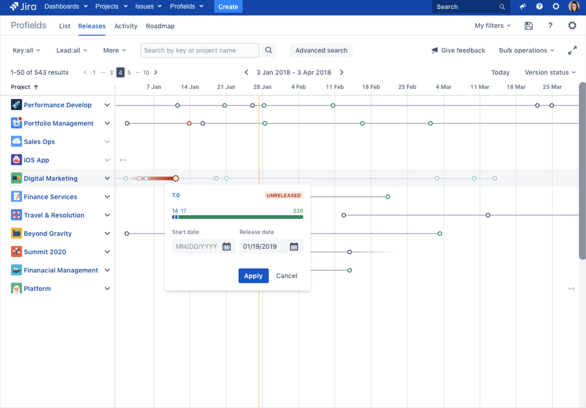 The Releases View, a feature to track project releases in Jira with Profields_trz