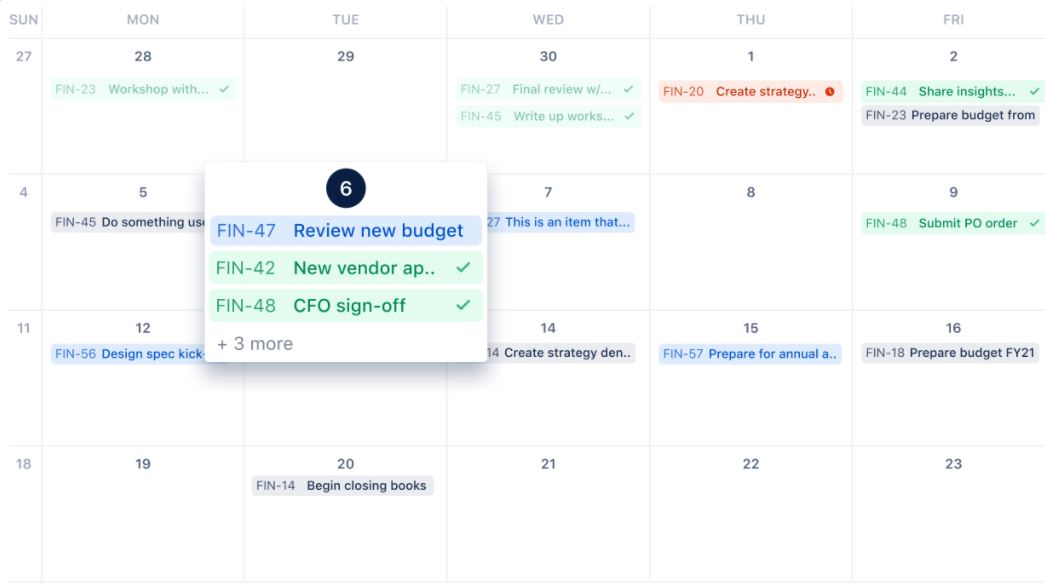 The Jira Work Management Calendar View allows to see a monthly view of work