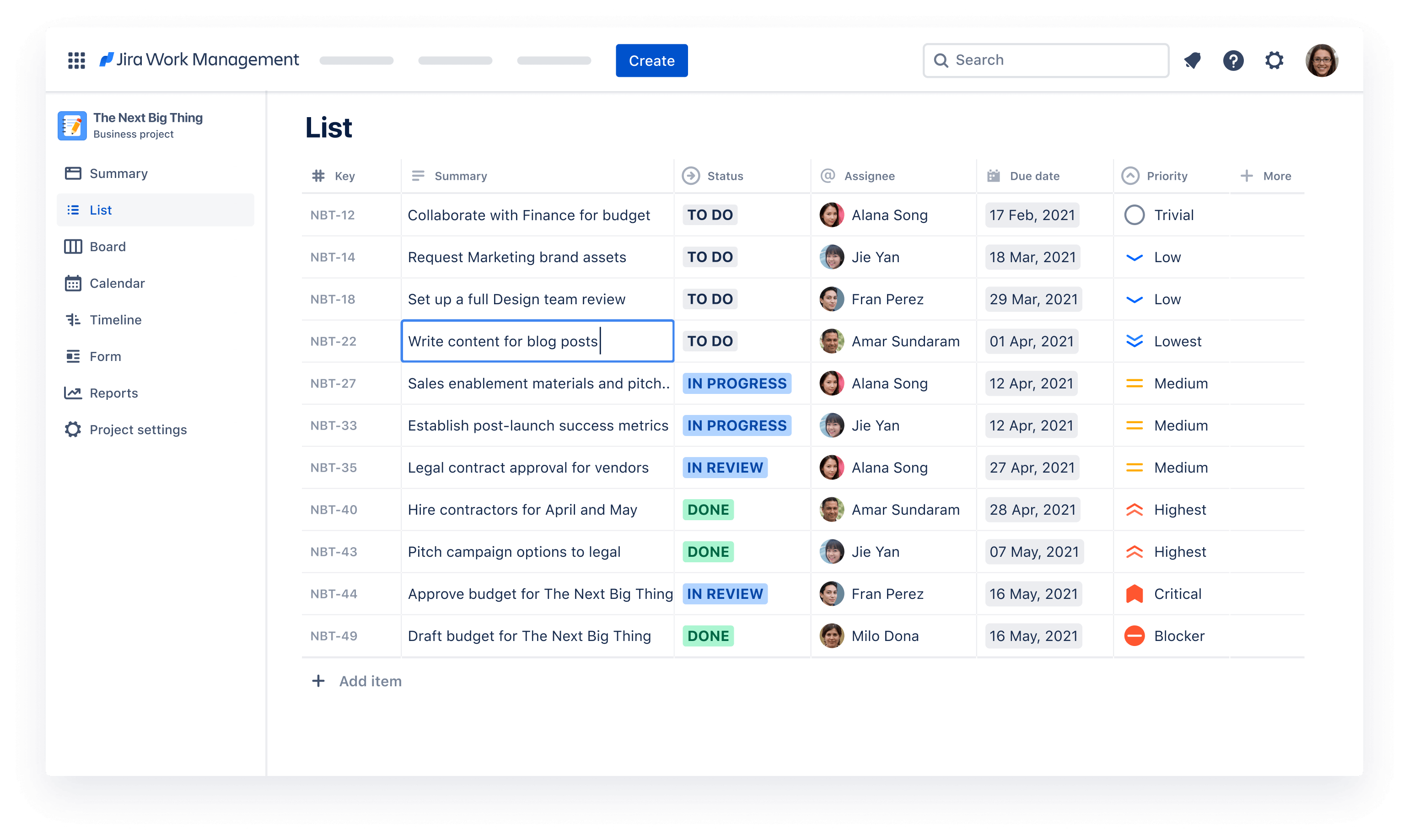 Get to know the List View from Jira Work Management