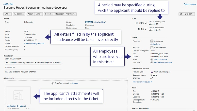 Overview of a job application in Jira