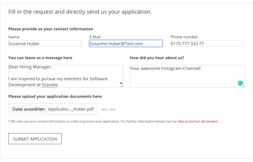 Example of a predefined CV submission form in Jira