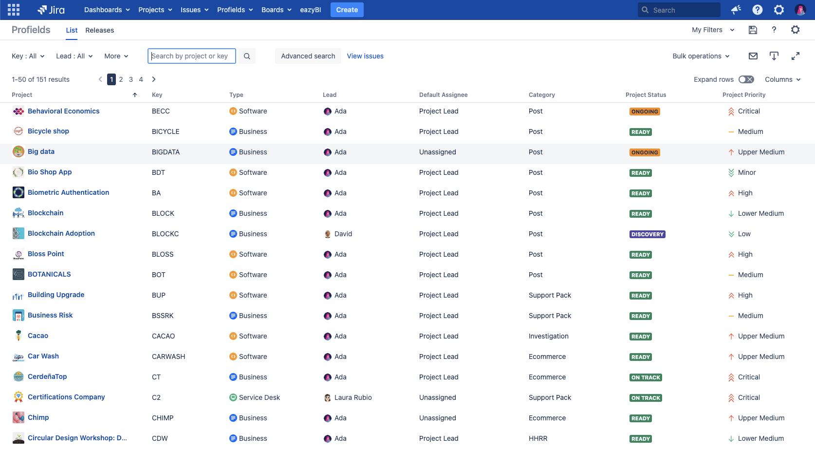 Con la Vista de Lista de Profields es posible ver, centralizar y buscar entre tus proyectos Jira, para un mejor seguimiento y control.