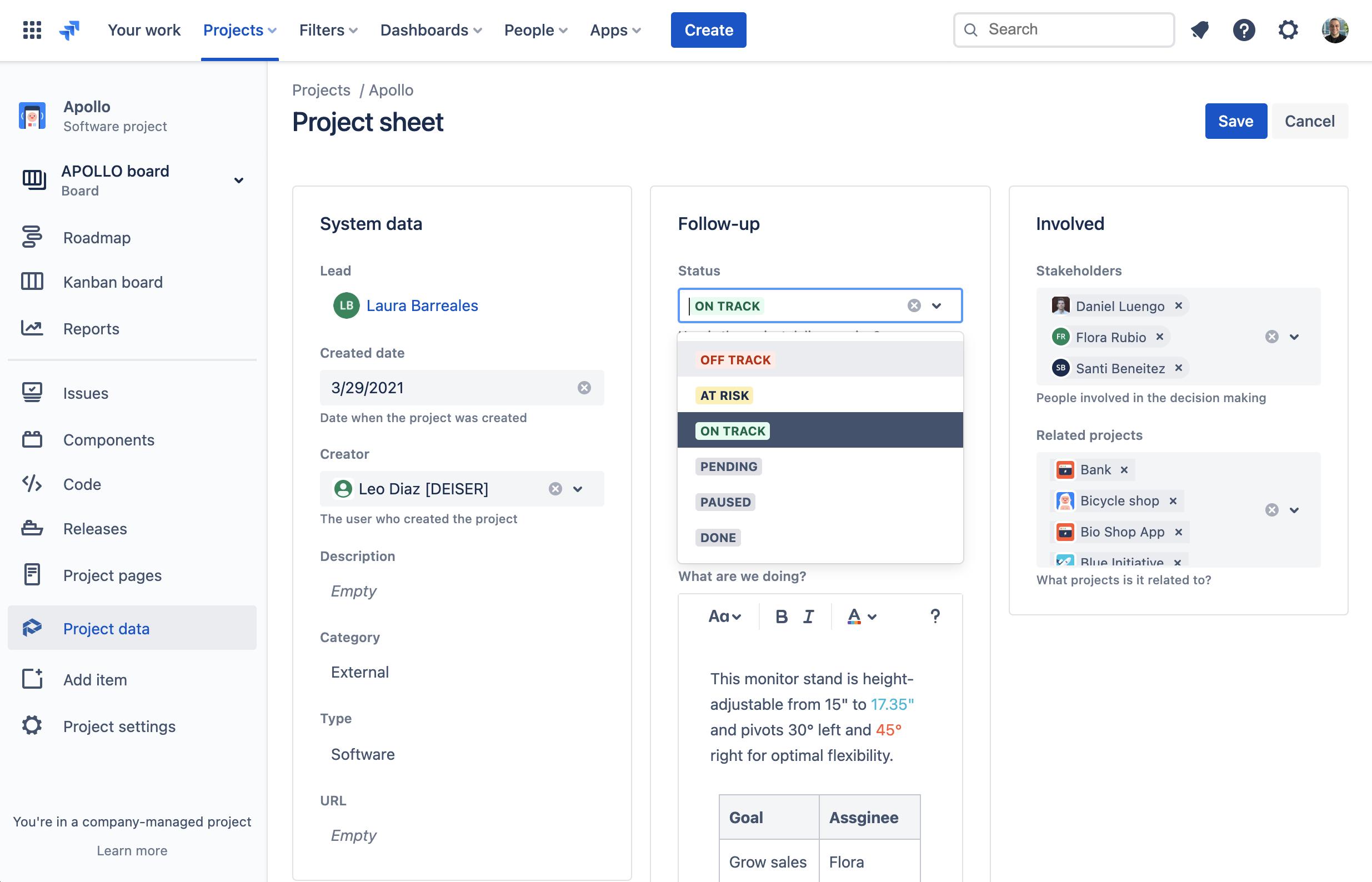 Cómo actualizar la información de proyectos en Jira con Projectrak para Jira Cloud