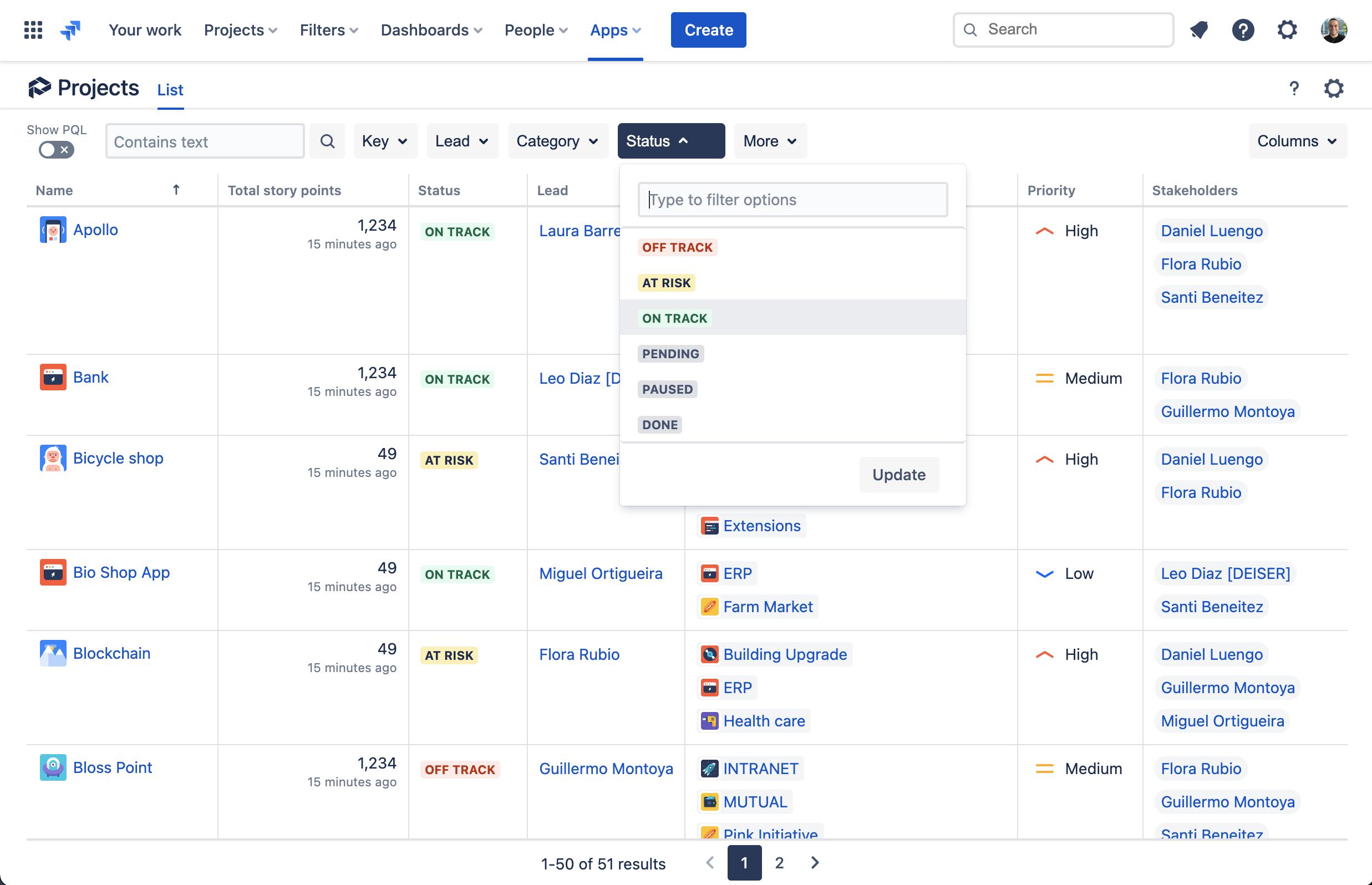 Vista de lista de los proyectos con Projectrak para Jira Cloud