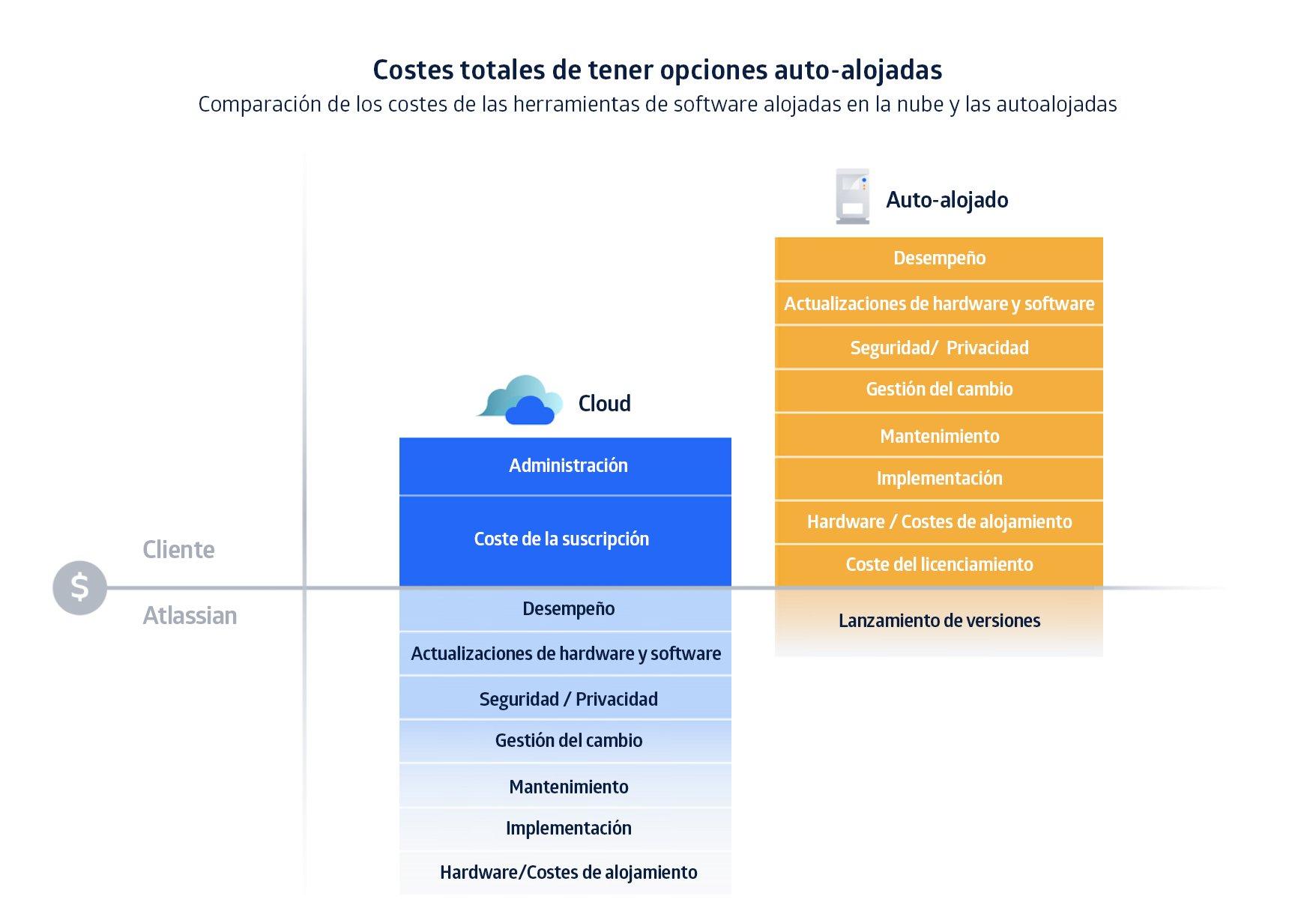 Coste de tener opciones en servidores propios vs tenerlo en el cloud computing