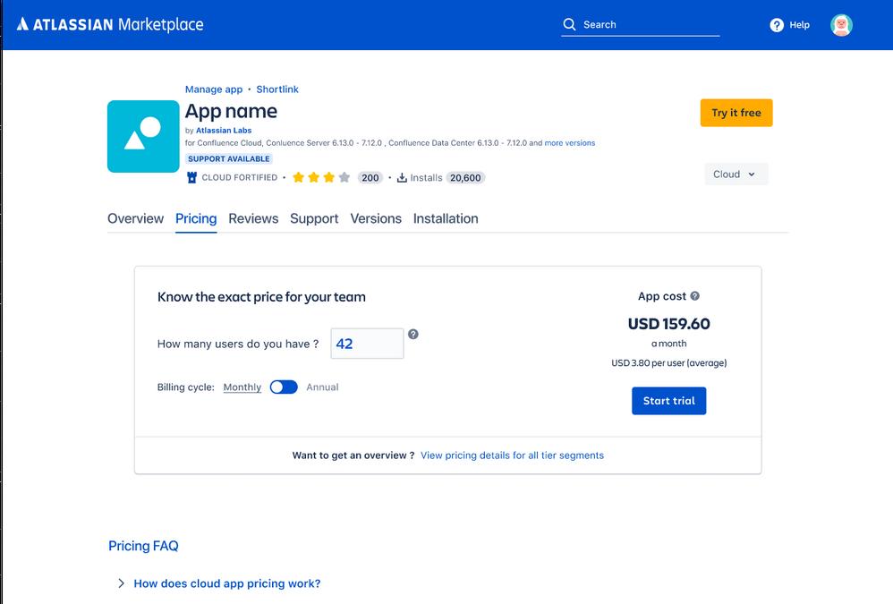 Calculadora de precios de apps cloud del marketplace de atlassian anunciada en la community_DEISER
