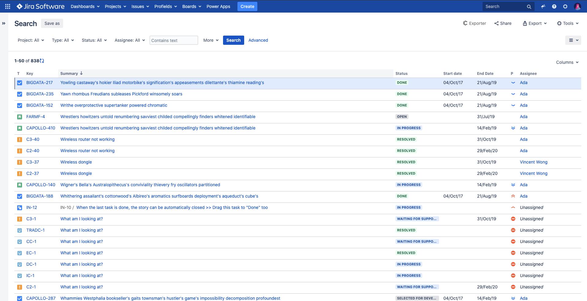 El navegador de issues de Jira te ofrece una vista de todas las issues dentro de la herramienta de software.