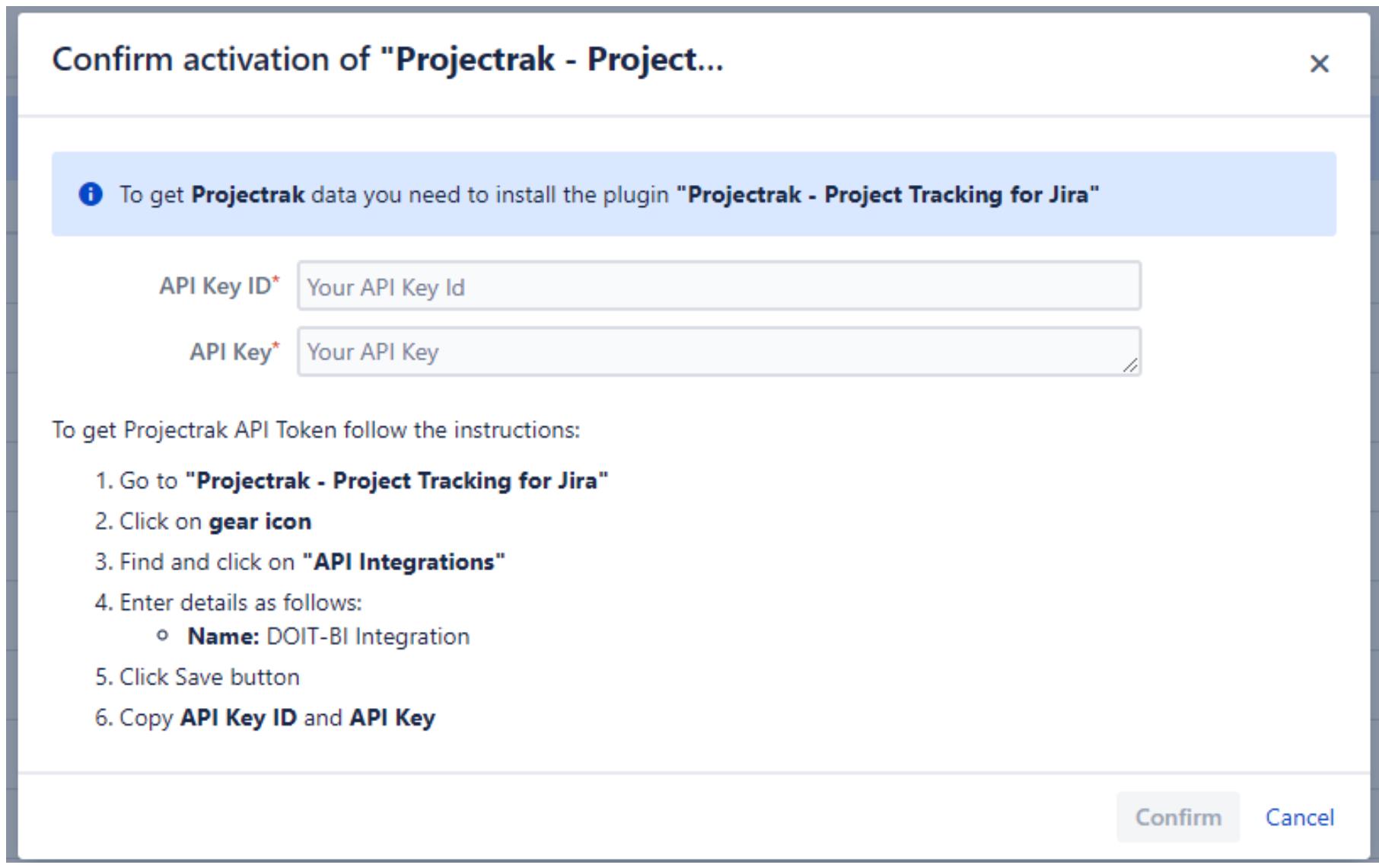 Añade la API Key ID y la API Key para conectar Projectrak con Microsoft Power BI Connector