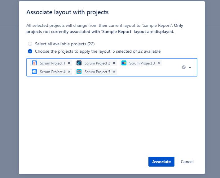 Asocia los proyectos a un mecanismo que hemos llamado Layout que te permitirá darle formato a la información de proyectos en Jira con Projectrak