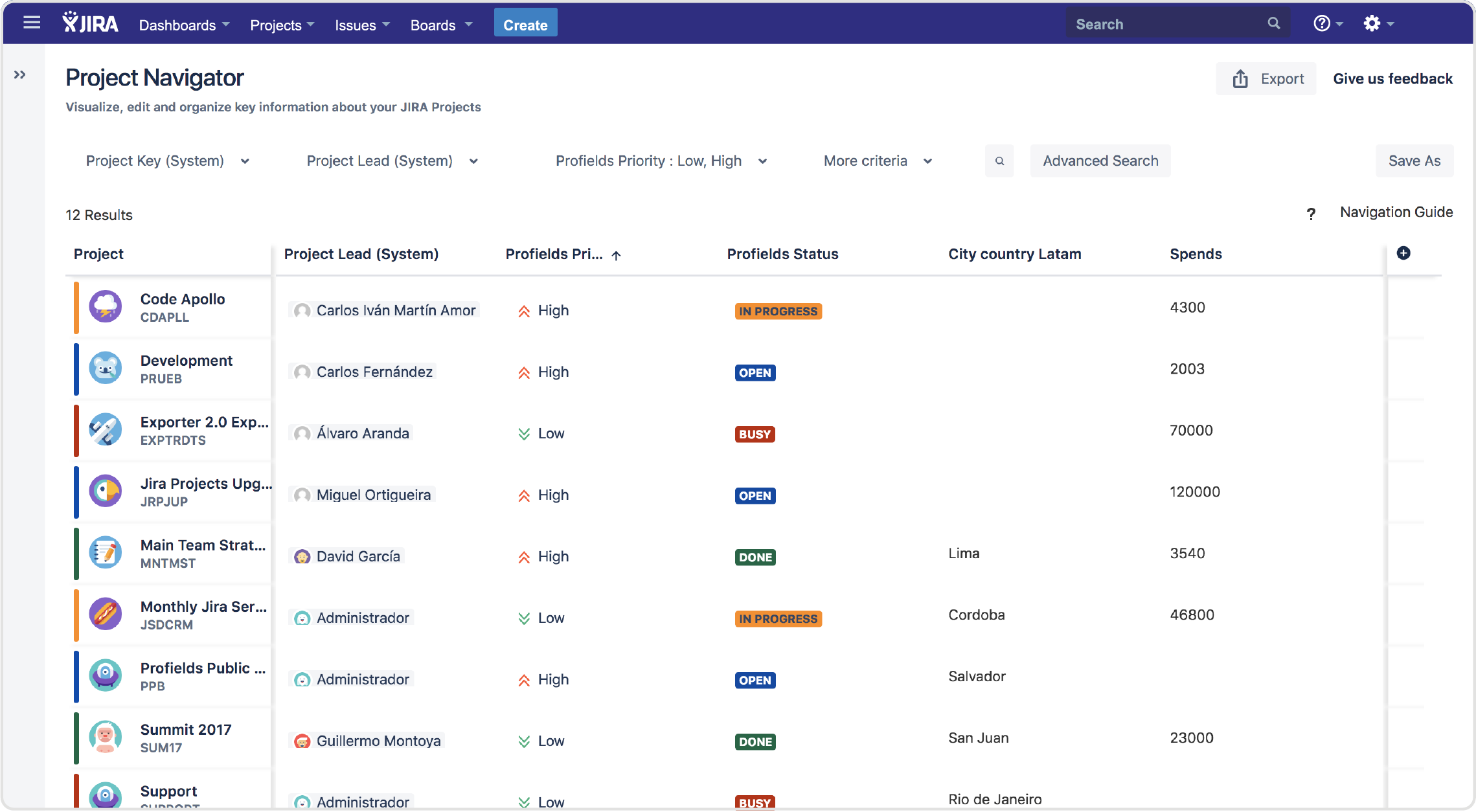 Profields | Jira App | Project searches for Jira