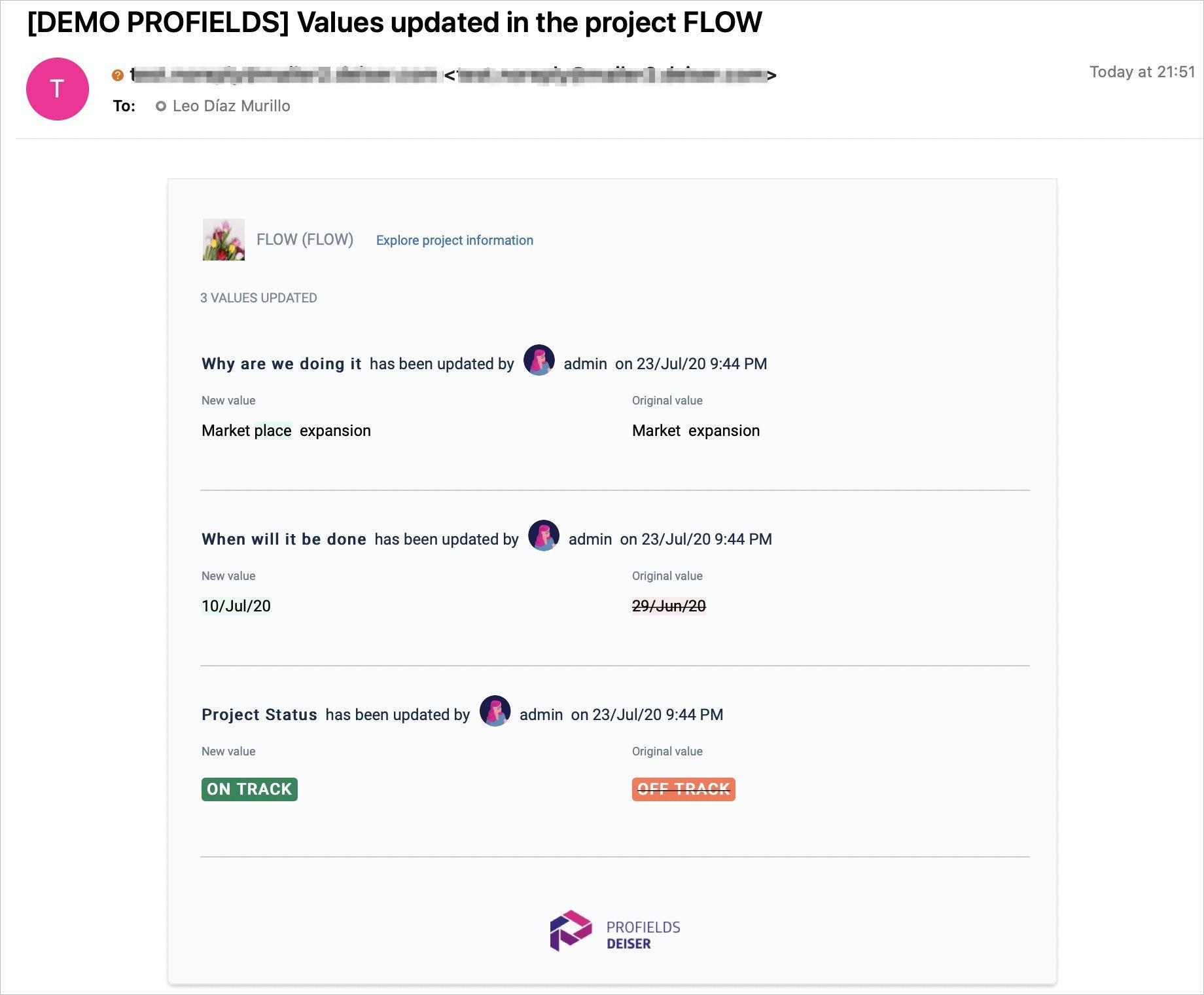"""Así luce el correo que recibirás cuando marques las opción de """"Watch Projects"""" de Profields en Jira."""