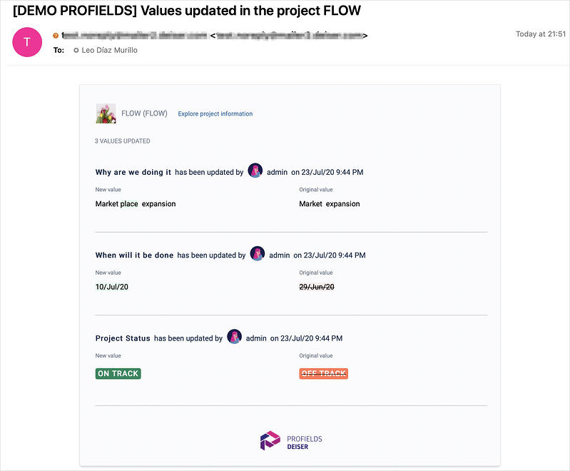 Receive an email everytime a change have been made in the Jira projects you choose