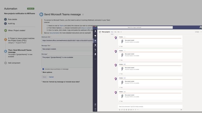 Configura Automation for Jira junto a Profields para recibir notificaciones sobre tus proyectos en el chat de tu empresa.