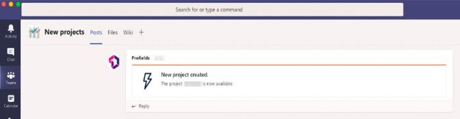 Message notification about project changes in Microsoft Teams from Jira