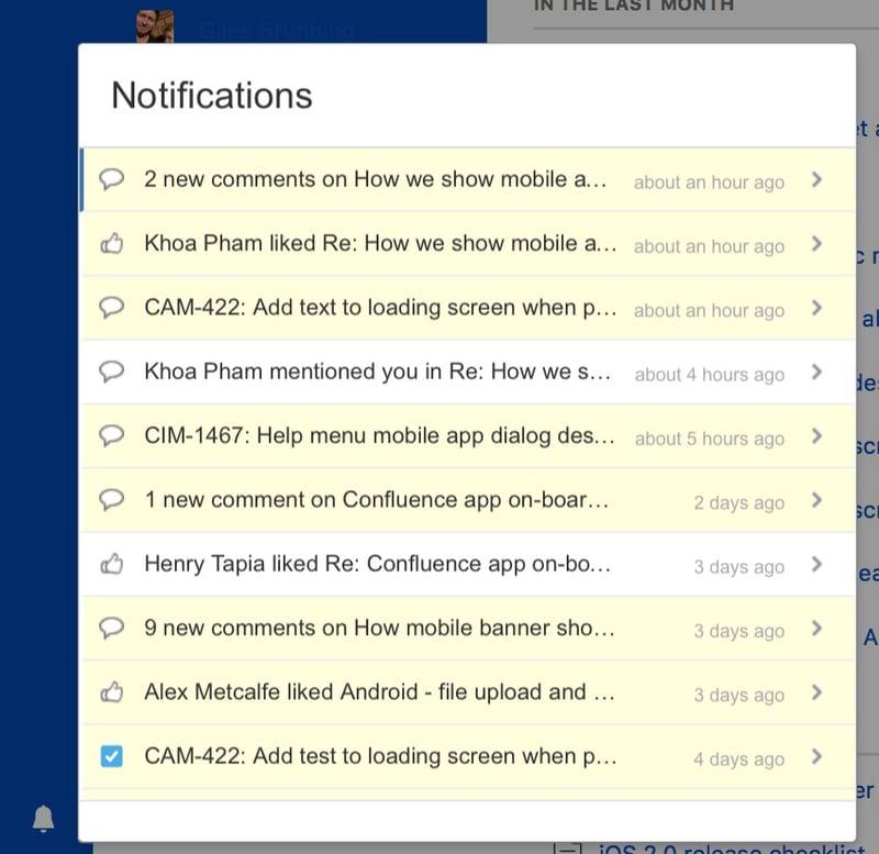 Así lucen las notificaciones dentro de la herramienta de colaboración de contenido de Atlassian, Confluence