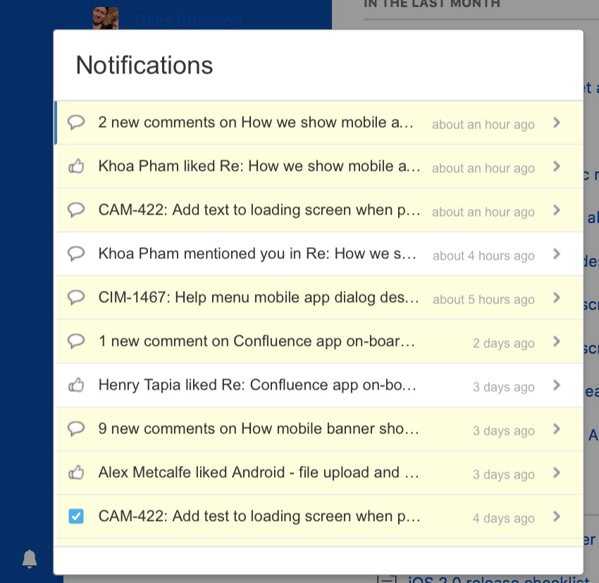 In-App notifications in the content collaboration software of Atlassian, Confluence