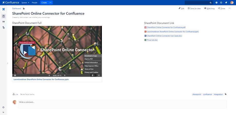 SharePoint Online Connector para Confluence es una app disponible en el marketplace de Atlassian