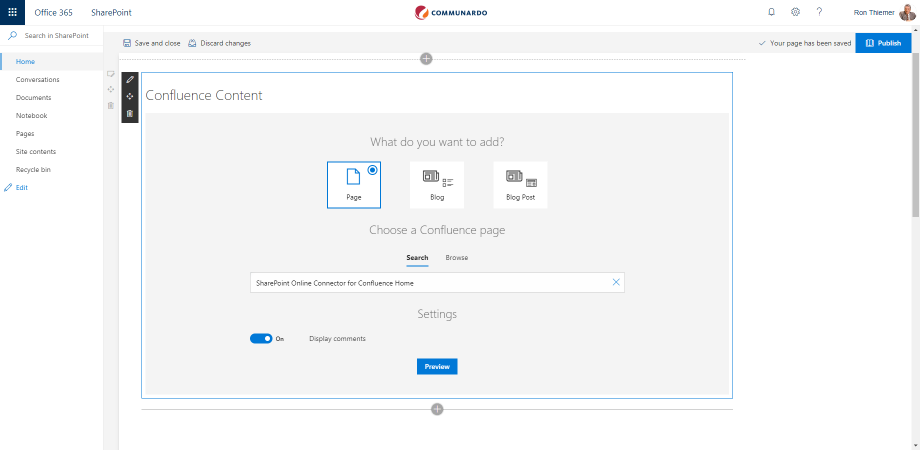 La vista de Confluence en Sharepoint Online, app disponible en el marketplace de Atlassian