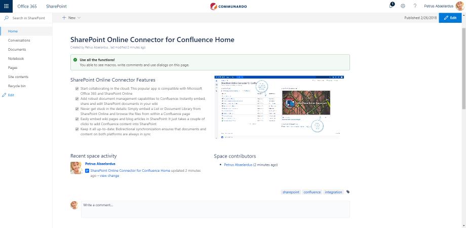 El home del conector SharePoint Online y Confluence