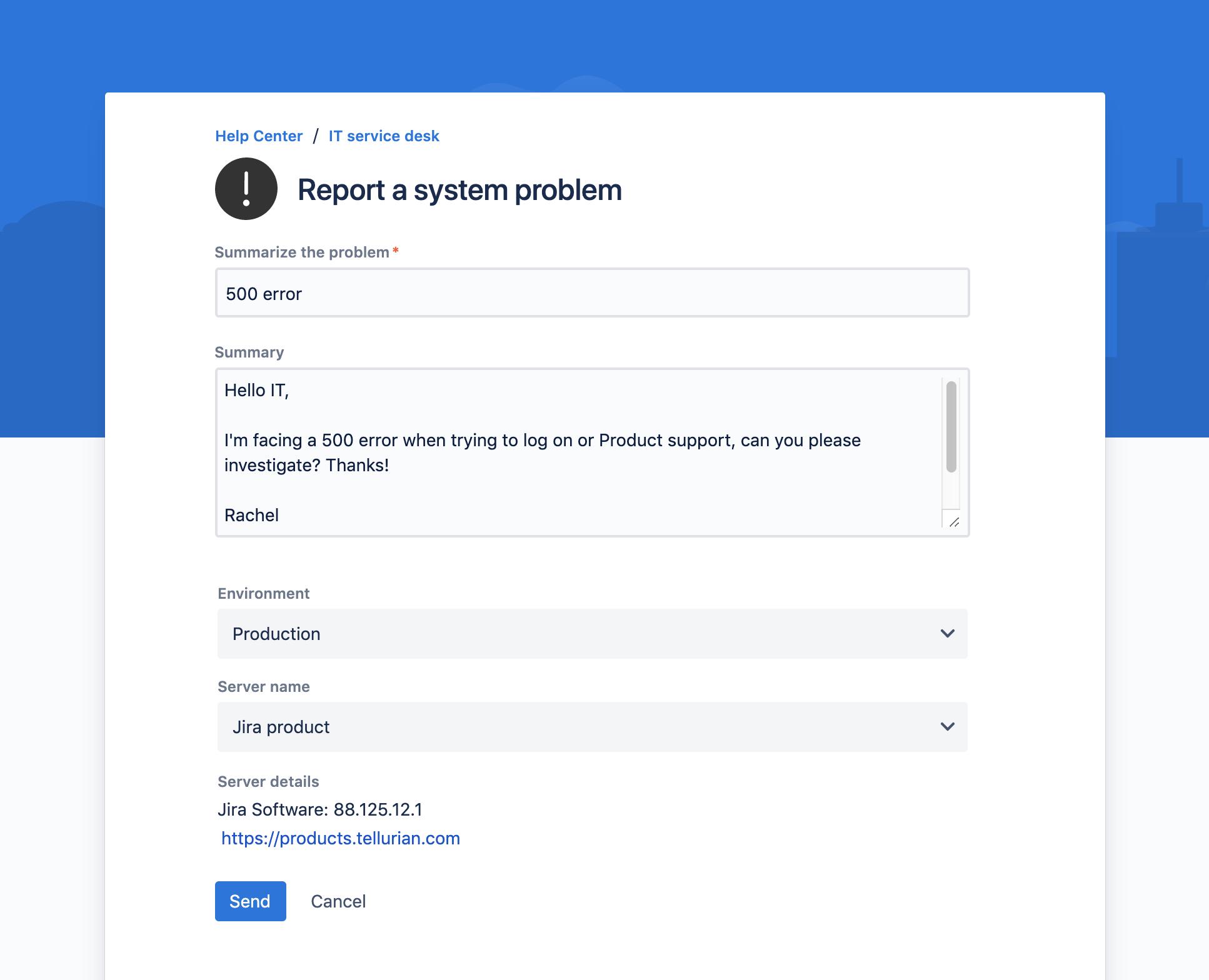 Así se ve un formulario de Jira Service Desk con Elements Connect for Jira Cloud