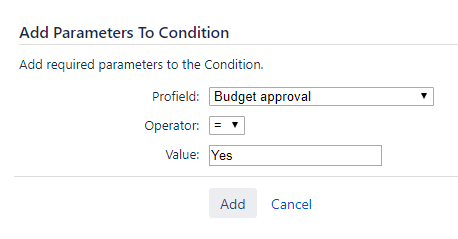 Aproving the parameter of a budget condition in a workflow in Jira with projects information
