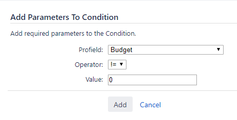 Adding budget parameters as a conditions in a Jira workflow with project data