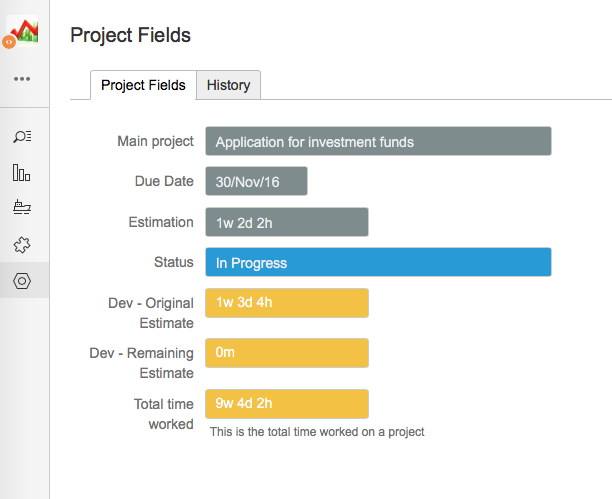 Project fields set up in Jira with profields