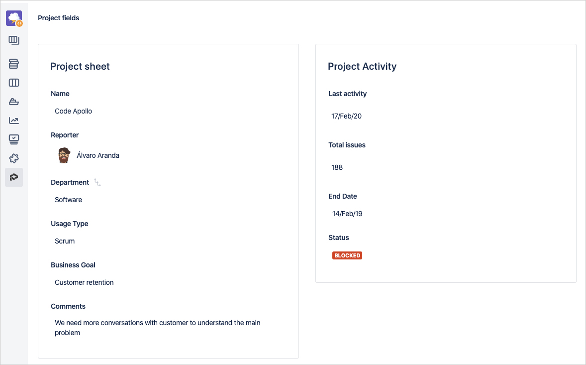 Customize project properties and track them through a visual timeline with all the changes of Jira projects