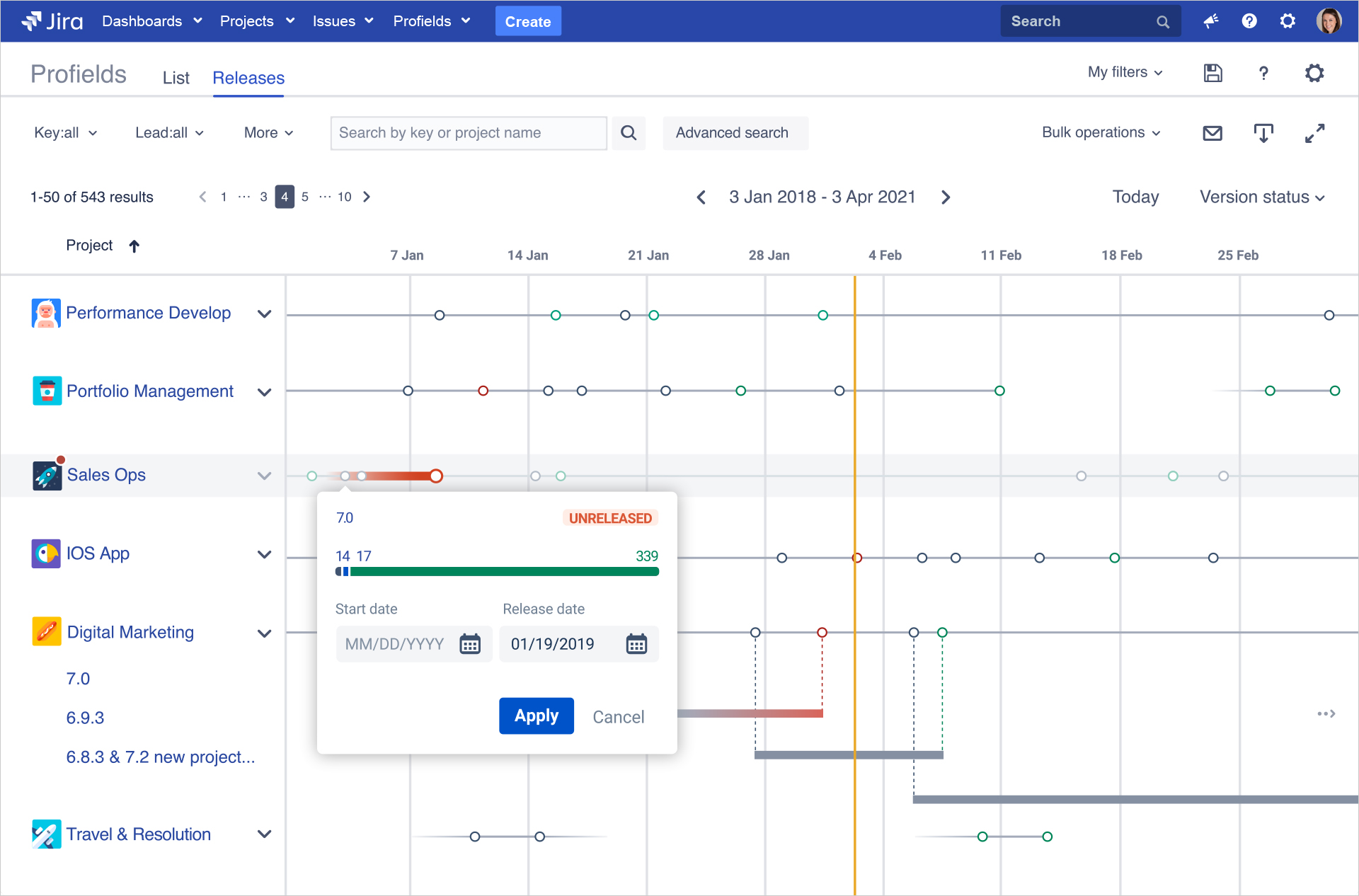 The Releases View feature of Profields allows to visualize  the changes in your projects and treat them as product releases.