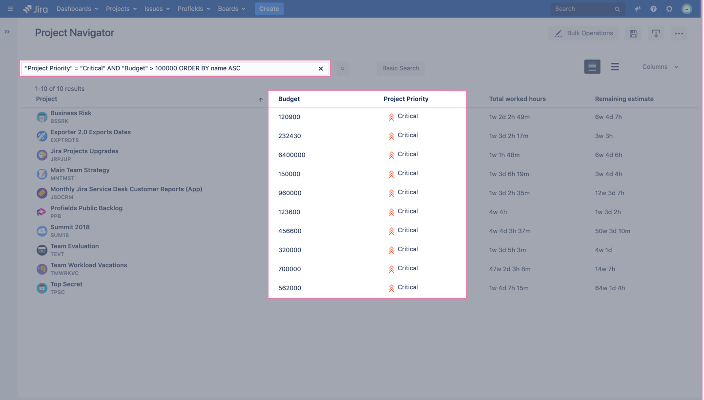 Profields' Project Navigator, the place where you can find, filter among all of your projects in JIra