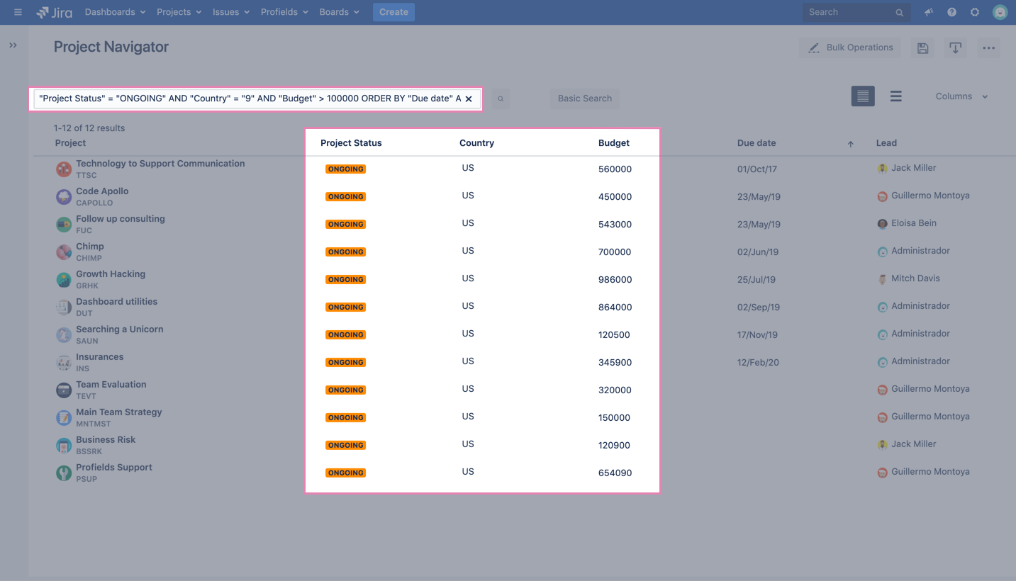 Filtering ongoing projects in Jira with Profields' Project Navigator