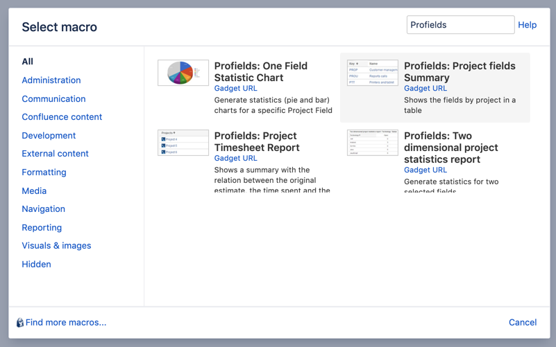 Add Profields gadgets that shows project information in Confluence