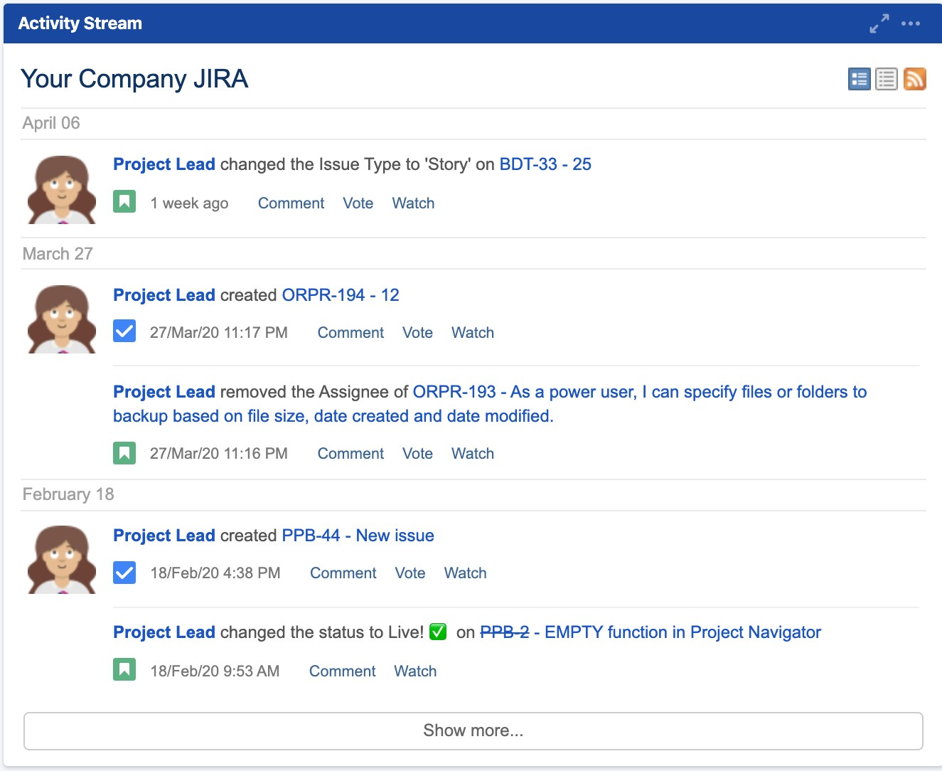 Activity stream gadget from Jira