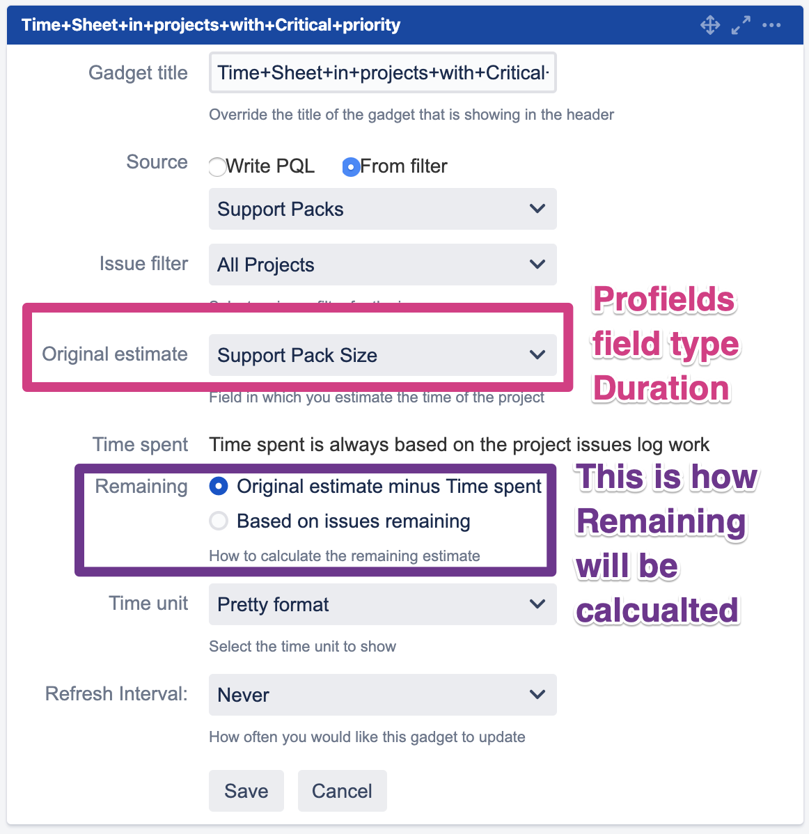 How to setup the Profields Project Timesheet Report gadget for Jira