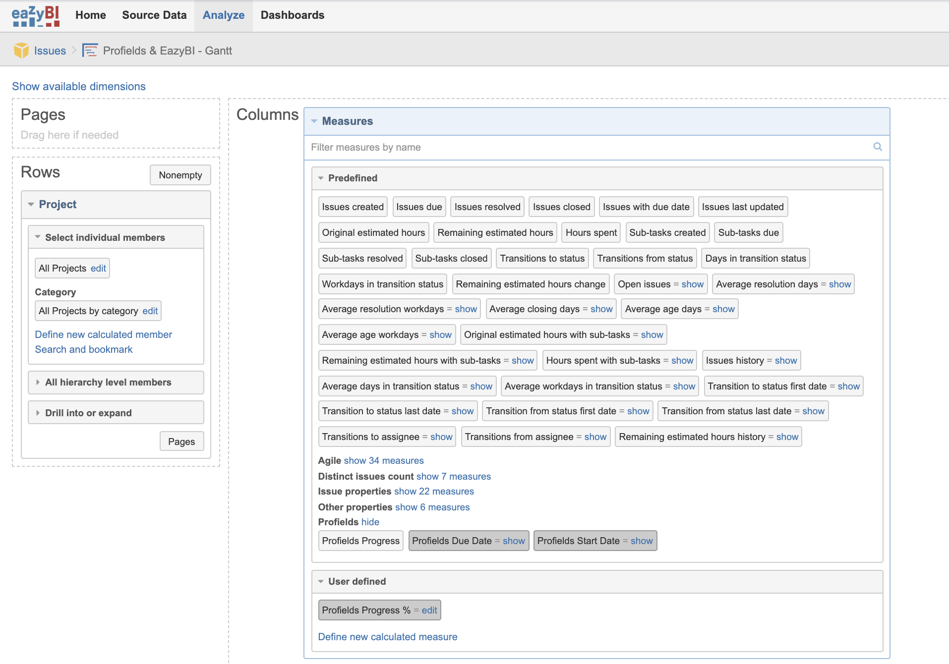 Imported project properties from Profields into eazyBI configuration for Jira multiple project tracking