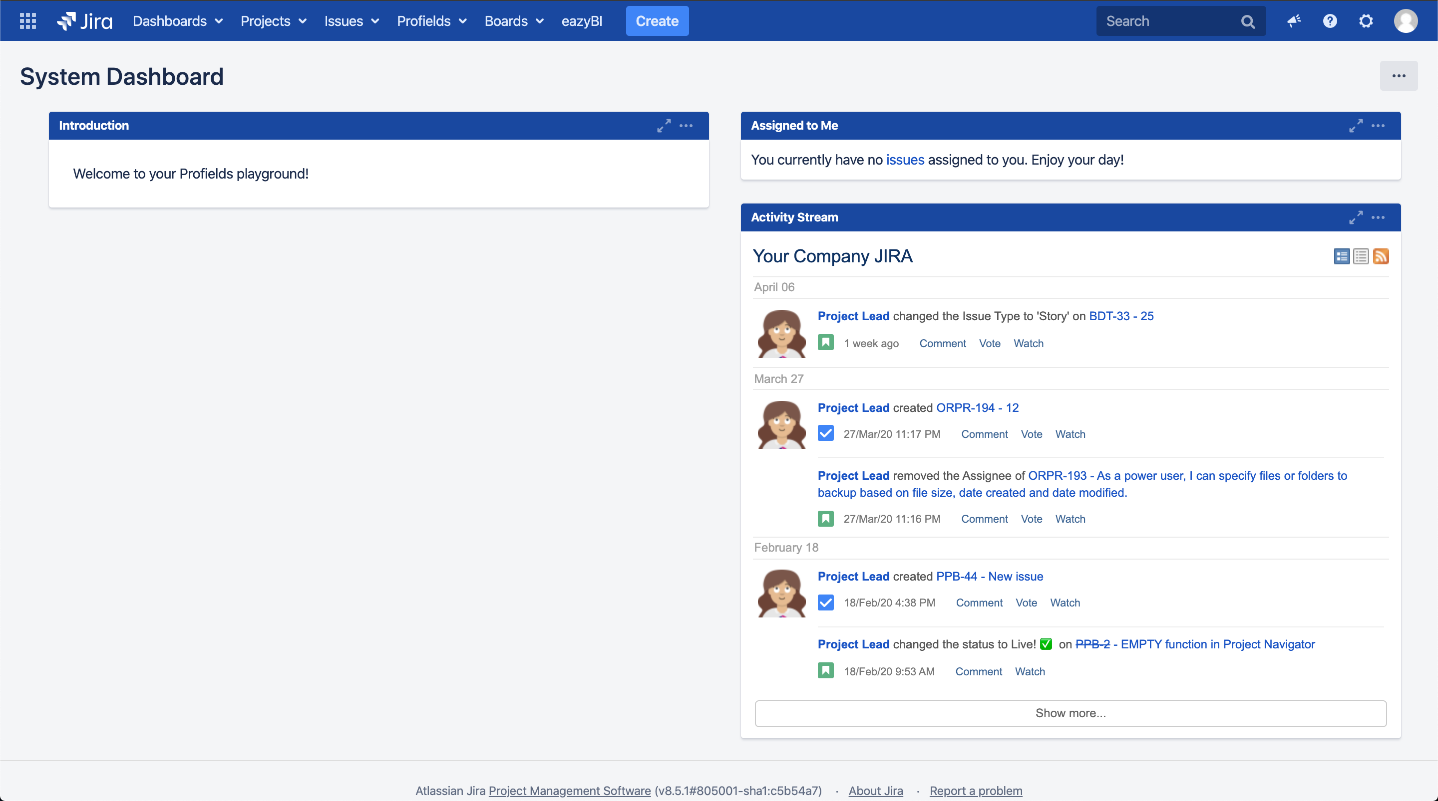 This how a default Jira dashboard looks
