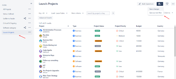 How to save filters in the projects navigator in Jira's app profields